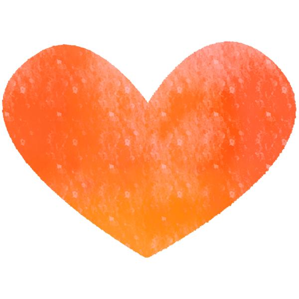 ハート(水彩・オレンジ)