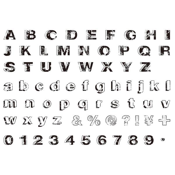 グランジ素材 アルファベット・数字・記号