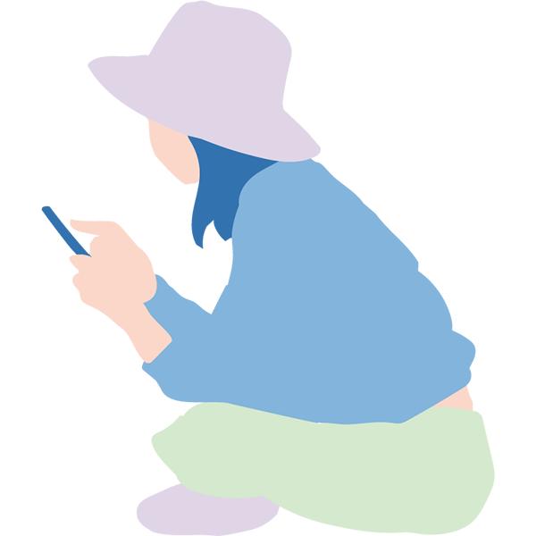 シンプルイラスト スマホを見る女性(カラーのみ)