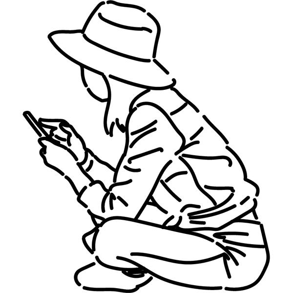 シンプルイラスト スマホを見る女性(線画)