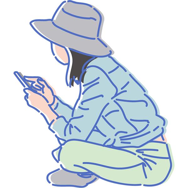シンプルイラスト スマホを見る女性(カラー)