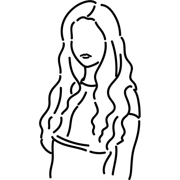 シンプルイラスト チューブトップの女性(線画)