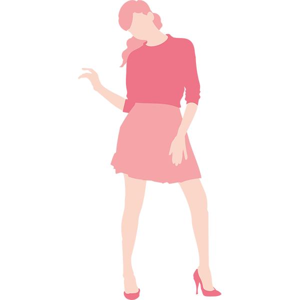 シンプルイラスト ポージングをする女性(カラーのみ)