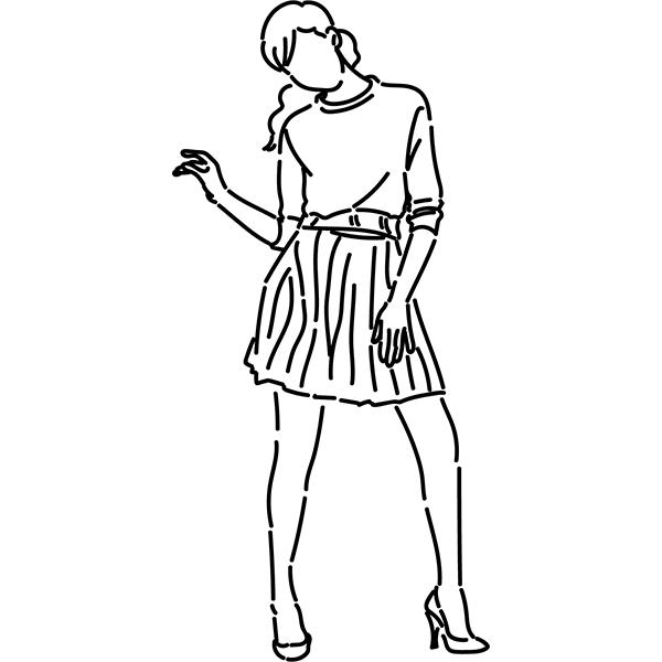 シンプルイラスト ポージングをする女性(線画)