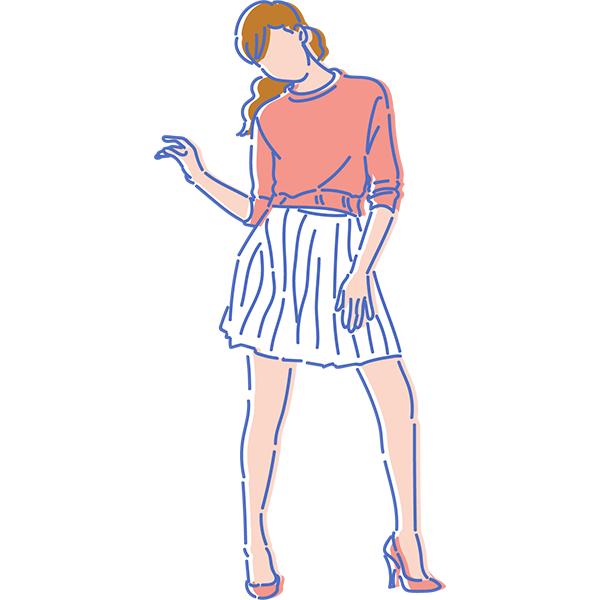シンプルイラスト ポージングをする女性(カラー)