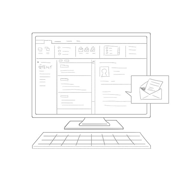 スケッチ画 PC メール画面