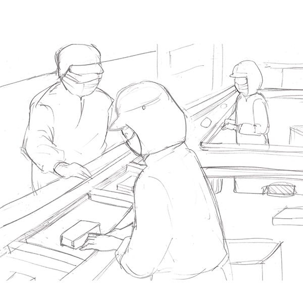 スケッチ画 製造業 ライン作業