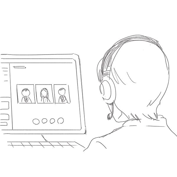 スケッチ画 ビデオ通話 会議(PC画面)