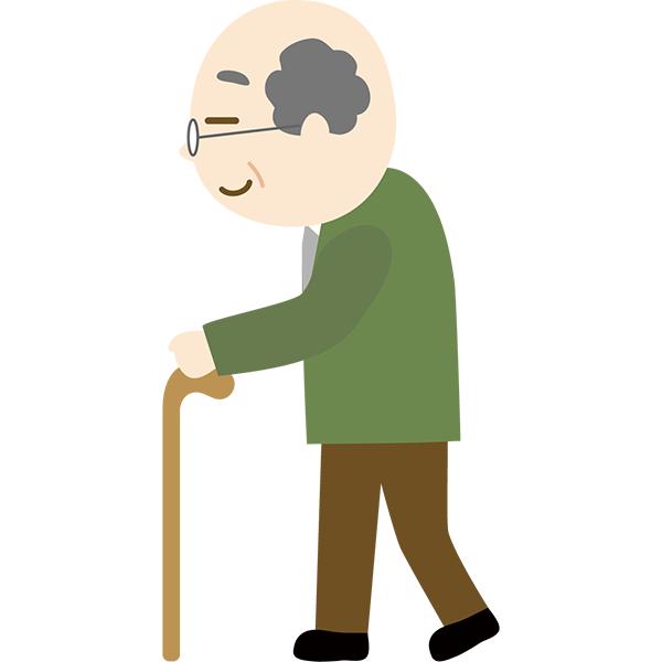 おじいさん 歩く 杖