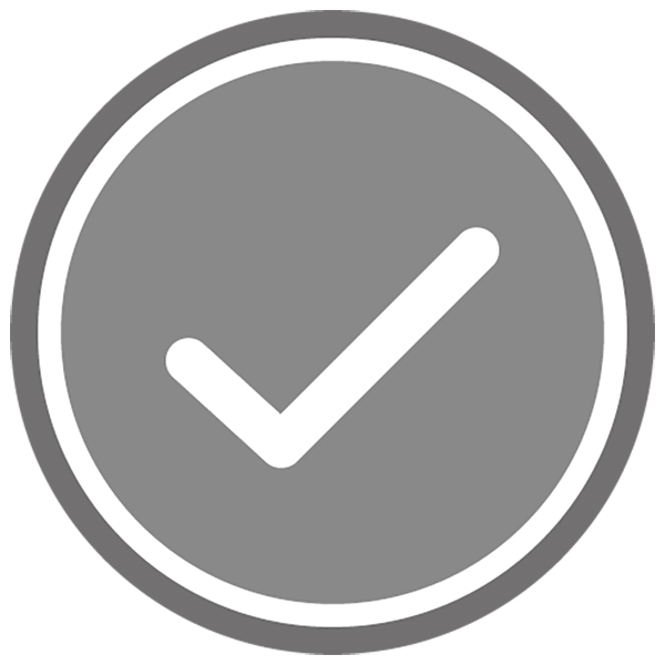 アイコン チェック(ボタン・未済・非選択・灰色)