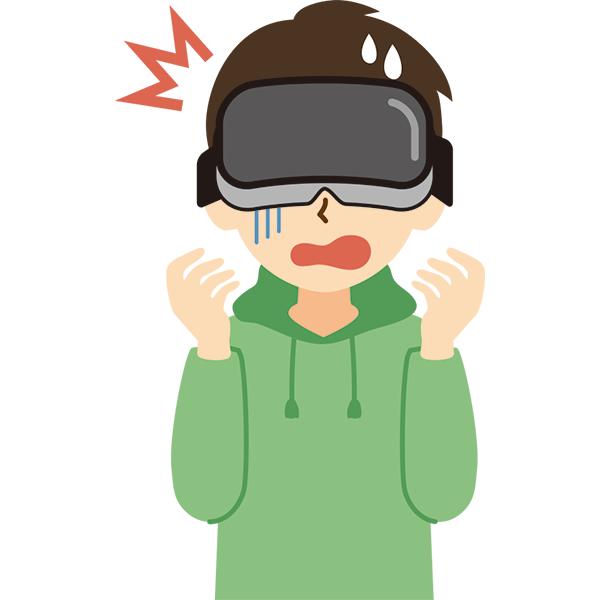 VR機器をつけた男性 びっくり