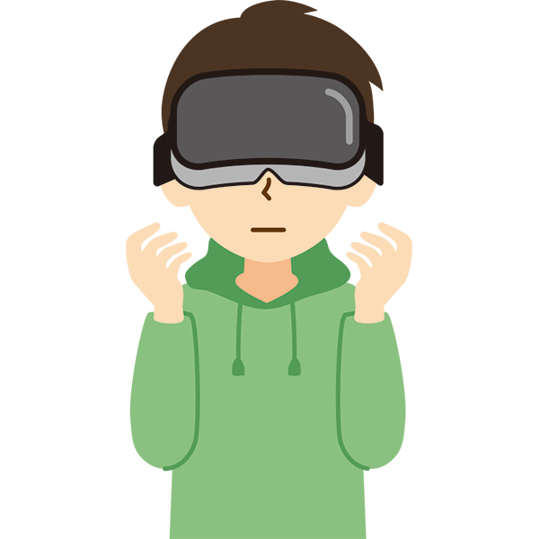 VR機器をつけた男性 無表情