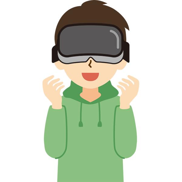 VR機器をつけた男性 笑顔