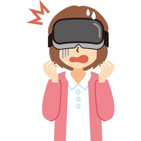 VR機器をつけた女性 びっくり