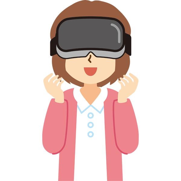 VR機器をつけた女性 笑顔
