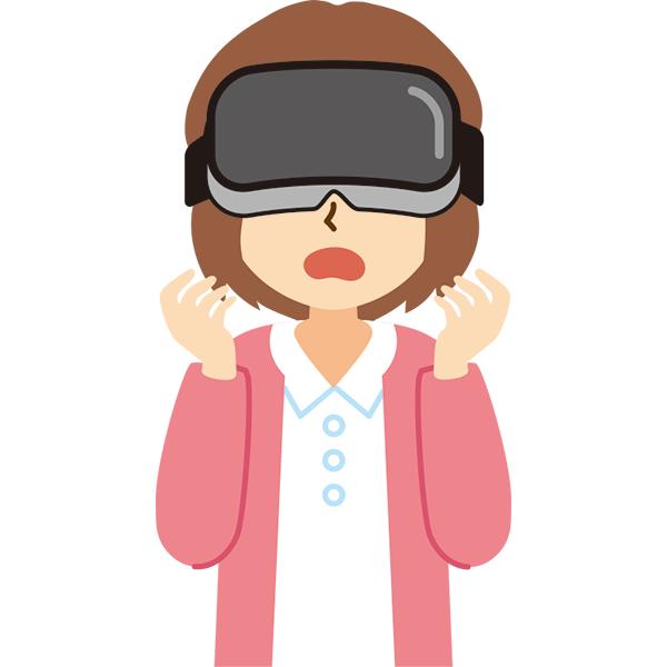 VR機器をつけた女性 驚き