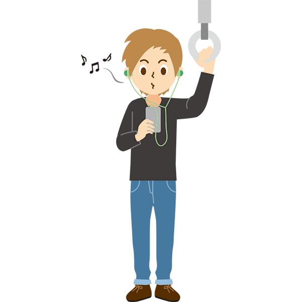 電車内 音楽を口ずさむ男性