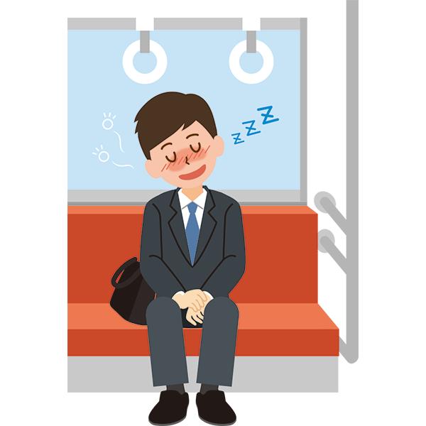電車内 居眠りをする酔っ払った会社員男性