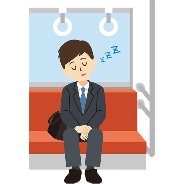 電車内 居眠りをする会社員男性
