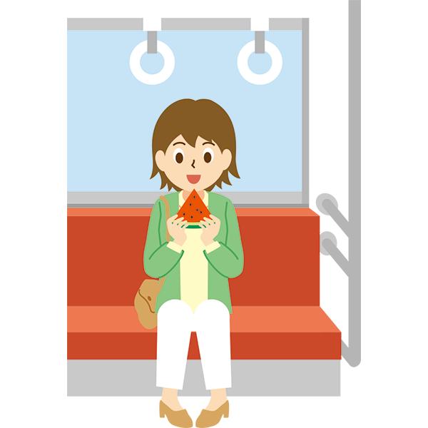 電車内 スイカを食べる女性