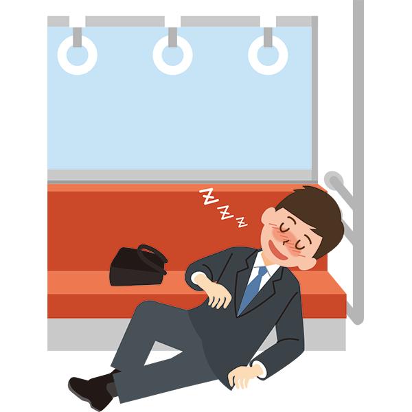電車内 大胆に寝る酔っ払った会社員男性