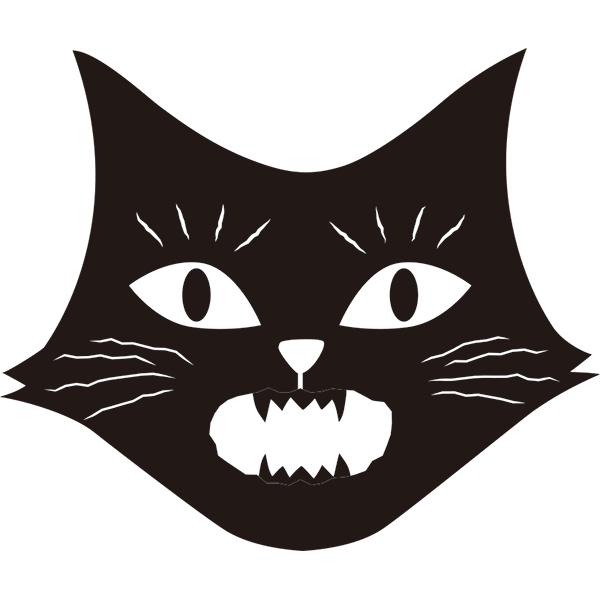 黒猫 びっくり顔(モノクロ)
