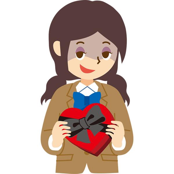 バレンタインチョコを渡す女の子(悪い顔)
