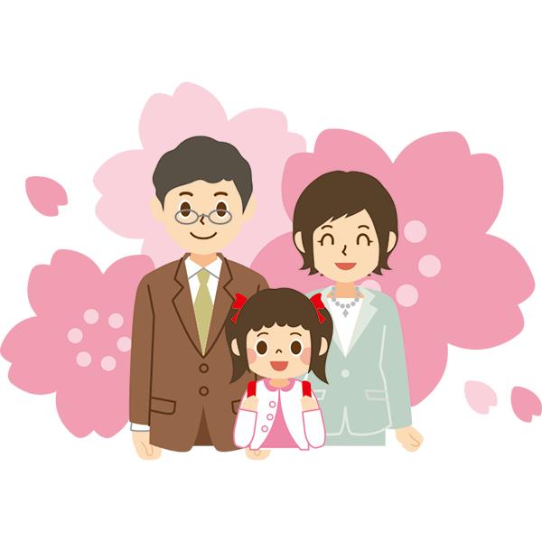 入学式 家族(上半身) 桜