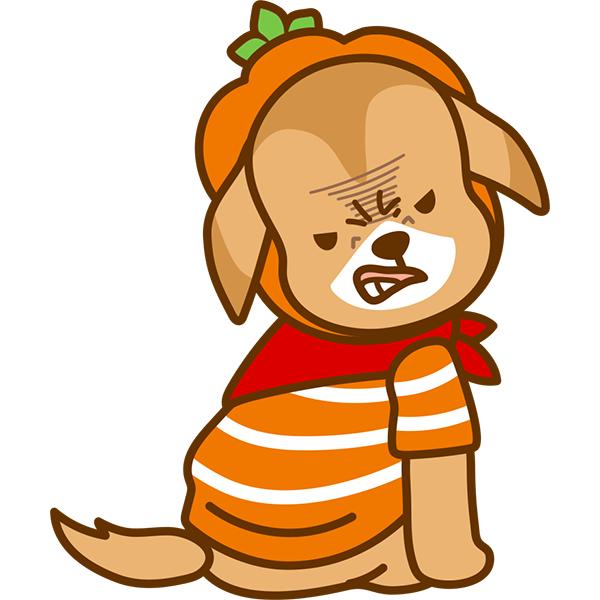 ハロウィン 犬(後ろ姿) 怒り顔