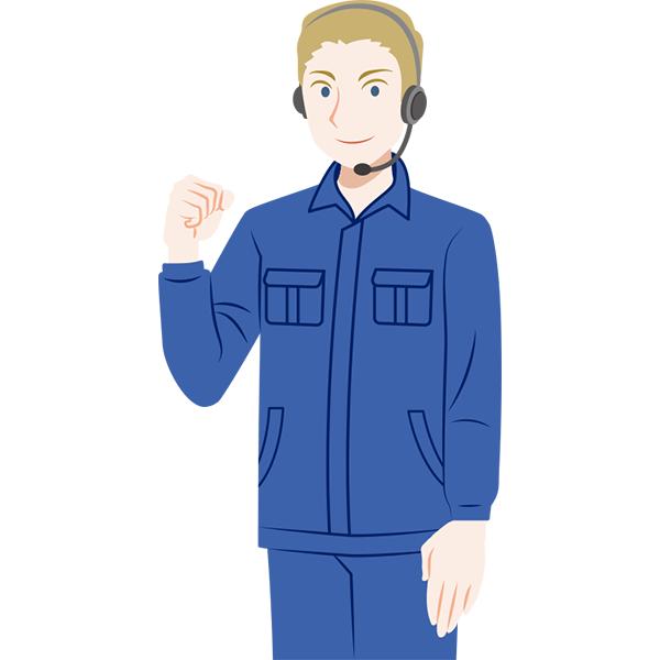 作業服の外国人男性 サポートスタッフ