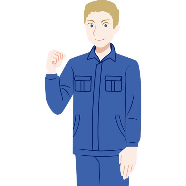 作業服の外国人男性 ガッツポーズ