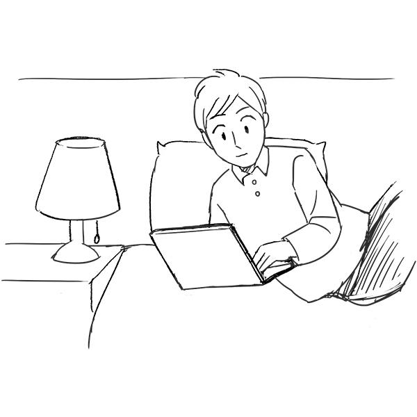 スケッチ画 ホテルでノートパソコン