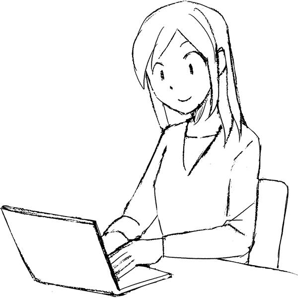 スケッチ画 女性 ノートパソコン
