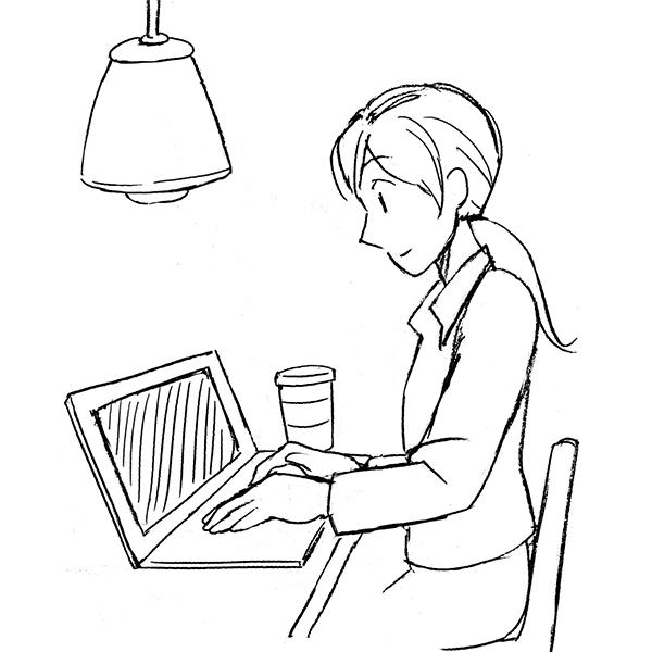 スケッチ画 カフェでノートパソコン