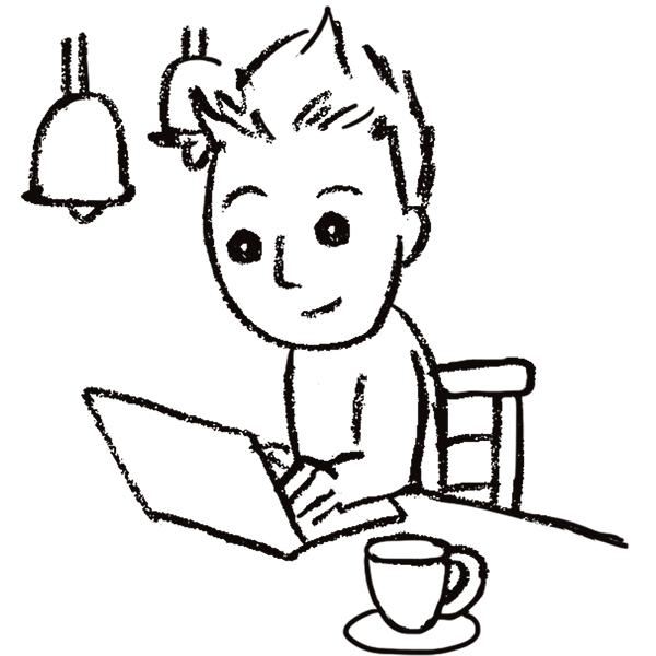 スケッチ画 デフォルメ カフェで仕事