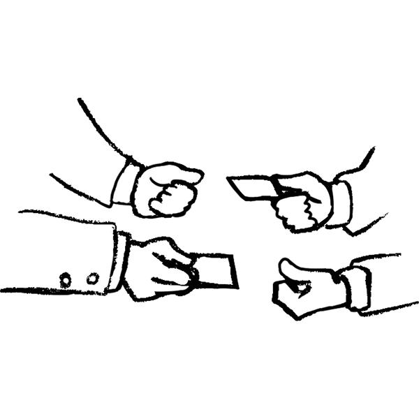 スケッチ画 デフォルメ 名刺交換