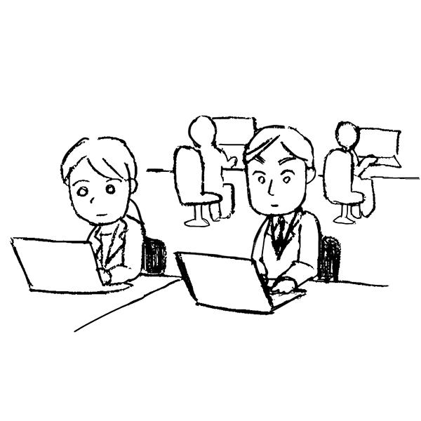 スケッチ画 デフォルメ オフィス