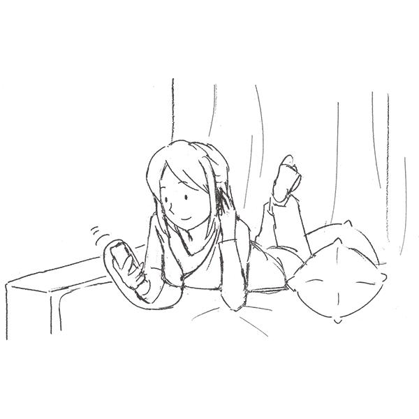 スケッチ画 ベッドの上でスマホで音楽
