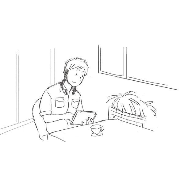 スケッチ画 カフェでタブレット