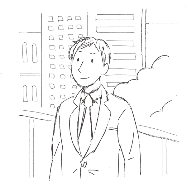 スケッチ画 オフィス街 スーツ