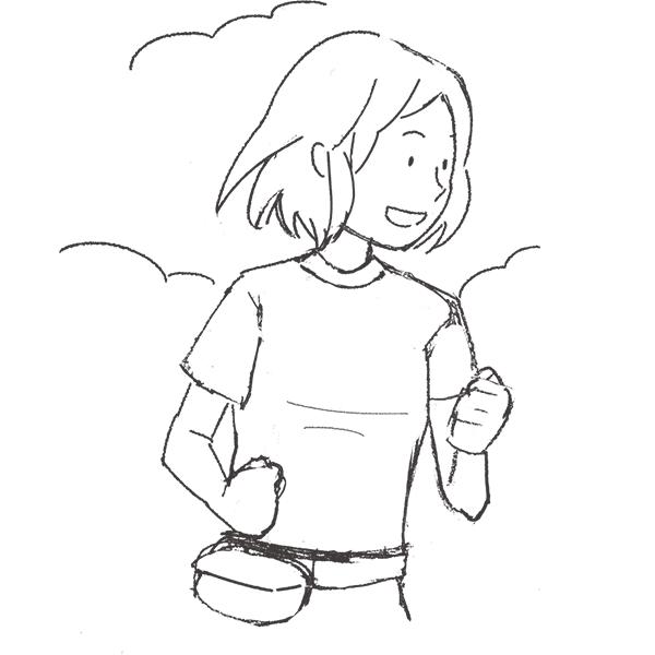 スケッチ画 ランニング 女性