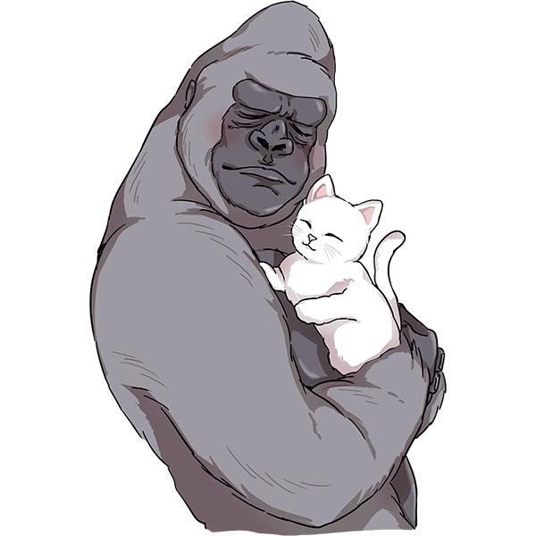 ゴリラ 猫を頰ずり