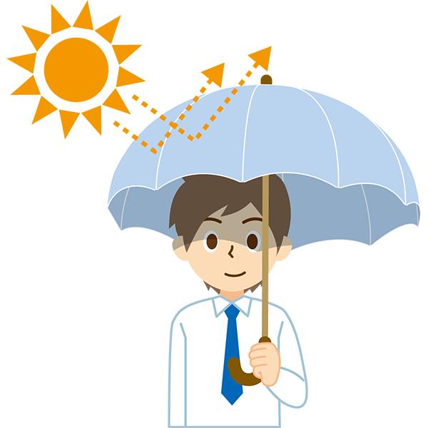 日傘をさす会社員男性 太陽
