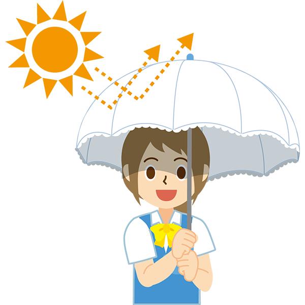 日傘をさす会社員女性 太陽