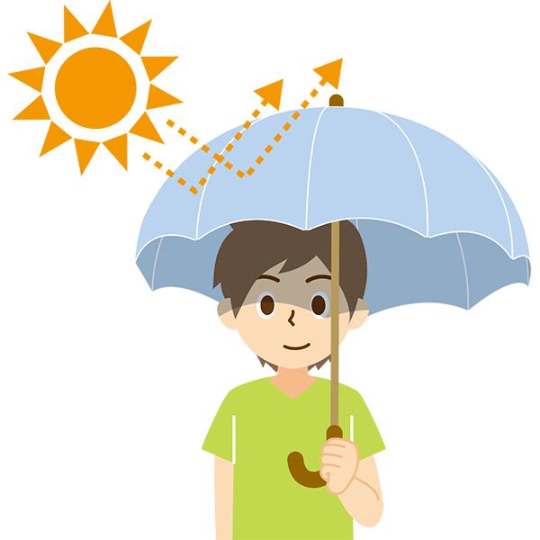 日傘をさす男性 太陽