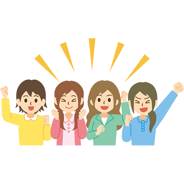 応援をする女性たち 笑顔