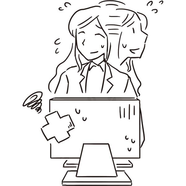 スケッチ画 困っている女性社員 PC