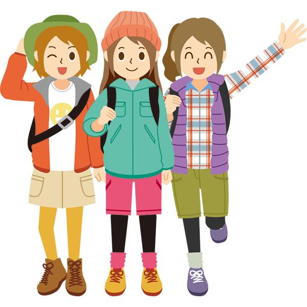 アウトドアファッション 女性3人