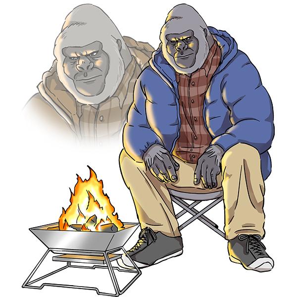 ゴリラ 焚き火