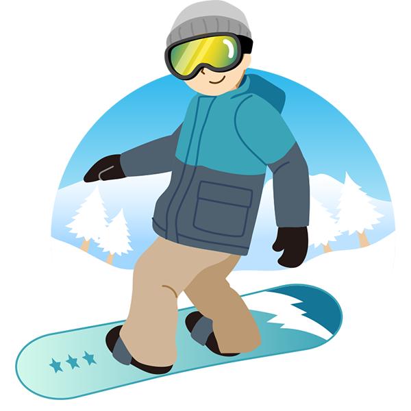 スノーボード 男性 背景あり
